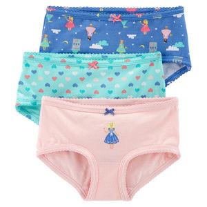 3-pack Brief Panties Cotton Princess Pink Aqua